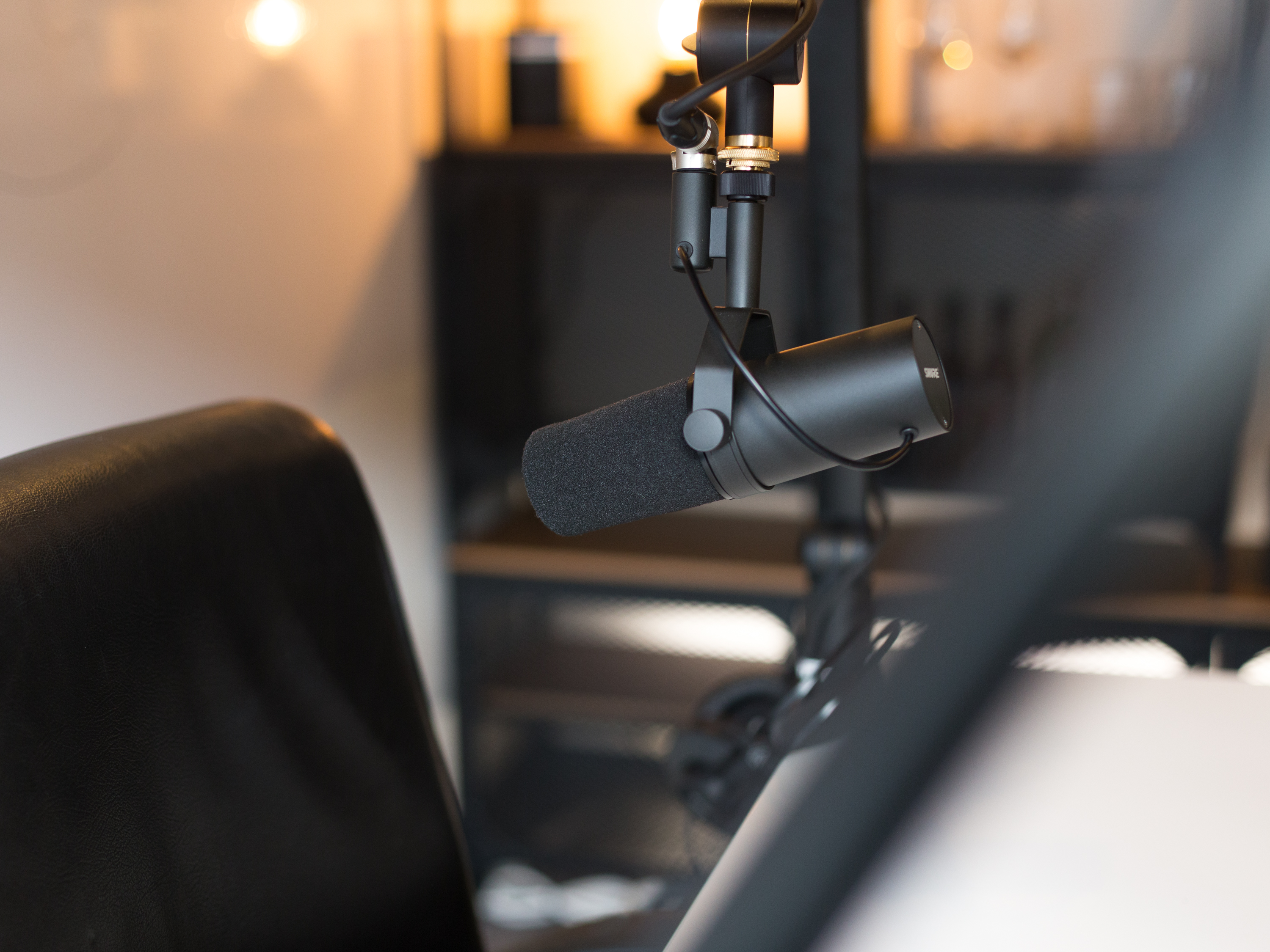 The site visit construction podcast studio SHURE mic.